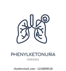 Phenylketonuria icon. Phenylketonuria linear symbol design from Diseases collection. Simple outline element vector illustration on white background.