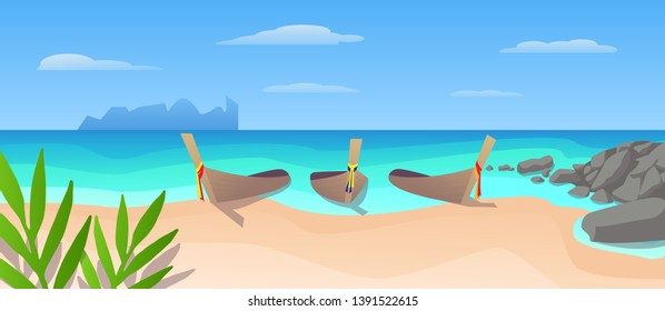 Phi phi island vector illustration for Thailand traveling advertising. Kon Phi Phi Don tropical beach with longtail boats in the blue sea. Tropical summer landscape for tourism vacation banner.