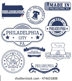 Philadelphia city, Pennsylvania. Set of generic stamps and signs.