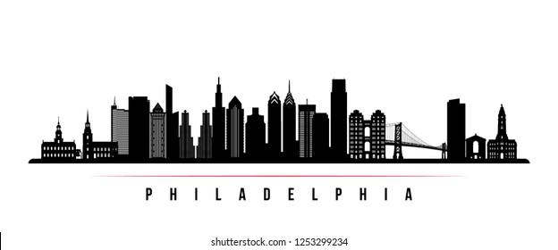 Philadelphia city skyline horizontal banner. Black and white silhouette of Philadelphia. Vector template for your design.