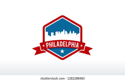 Philadelphia City Skyline Logo badge vector illustration