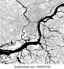 Philadelphia Monochrome Vector Map. Very large and detailed outline Version on White Background. Black Highways and Railroads, Streets and Water.