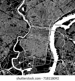 Philadelphia, Pennsylvania. Downtown vector map. City name on a separate layer. Art print template. Black and white.