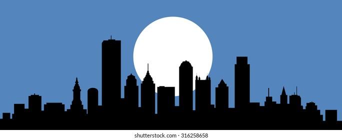 Philadelphia Pennsylvania Night Skyline