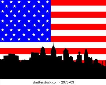 Philadelphia Pennsylvania skyline against American Flag illustration