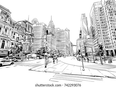 Philadelphia. Pennsylvania. USA. Hand drawn.Unusual Street sketch, vector illustration