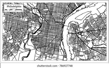 Philadelphia Pennsylvania USA Map in Black and White Color. Vector Illustration. Outline Map.