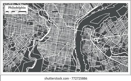 Philadelphia Pennsylvania USA Map in Retro Style. Vector Illustration. Outline Map.