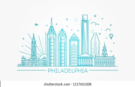 Philadelphia. Pennsylvania USA. Skyline with panorama