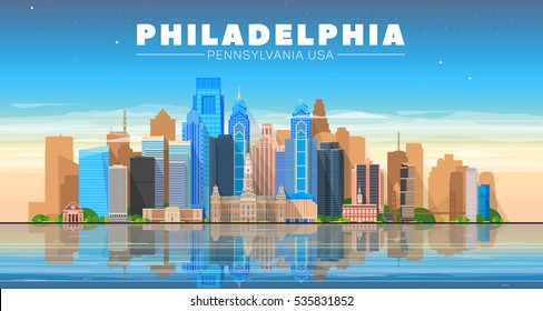 Philadelphia ( Pennsylvania USA ) skyline with panorama in evening sky background. Vector Illustration. Business travel and tourism concept with modern buildings.  Image for banner or web site.