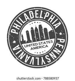 Philadelphia Pennsylvania USA Stamp Logo Icon Symbol Design Skyline City