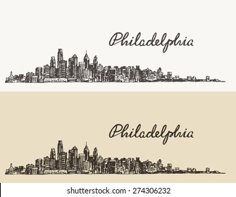 Philadelphia skyline, big city architecture, vintage engraved vector illustration, hand drawn, sketch.