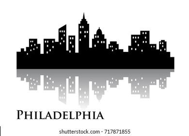 philadelphia skyline city logo vector