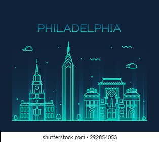 Philadelphia skyline, detailed silhouette. Trendy vector illustration, linear style.