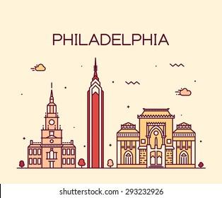Philadelphia skyline, detailed silhouette. Trendy vector illustration, linear style.