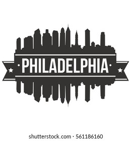 Philadelphia Skyline Silhouette Stamp City
