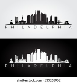 Philadelphia USA skyline and landmarks silhouette, black and white design, vector illustration.