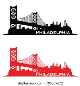 Philadelphia USA skyline Logo cityscape and landmarks silhouette vector illustration