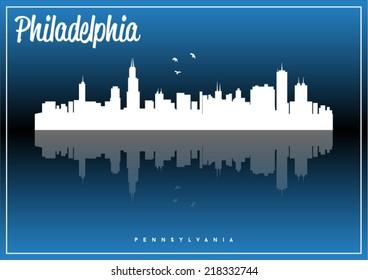 Philadelphia, USA skyline silhouette vector design on parliament blue background.