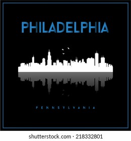 Philadelphia, USA skyline silhouette vector design on black background.
