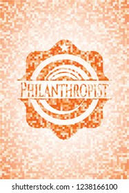 Philanthropist abstract emblem, orange mosaic background