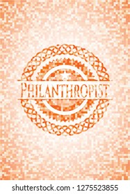 Philanthropist abstract orange mosaic emblem with background