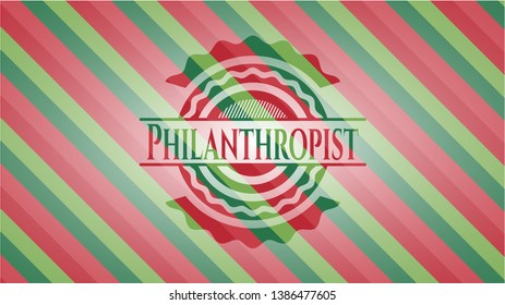 Philanthropist christmas colors emblem. Vector Illustration. Detailed.
