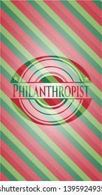 Philanthropist christmas style badge. Vector Illustration. Detailed.