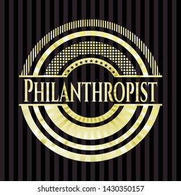 Philanthropist gold badge or emblem. Vector Illustration. Detailed.