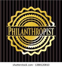 Philanthropist gold badge. Vector Illustration. Detailed.