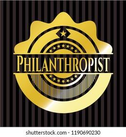 Philanthropist golden badge or emblem