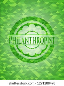 Philanthropist green emblem with mosaic ecological style background