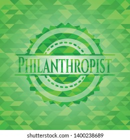 Philanthropist green emblem with triangle mosaic background. Vector Illustration. Detailed.