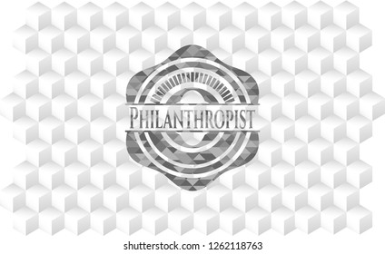 Philanthropist grey emblem. Retro with geometric cube white background