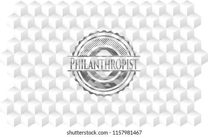 Philanthropist grey emblem. Vintage with geometric cube white background