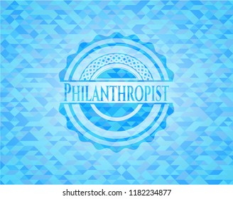 Philanthropist light blue mosaic emblem