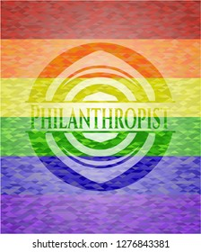 Philanthropist on mosaic background with the colors of the LGBT flag