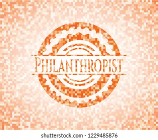 Philanthropist orange mosaic emblem with background