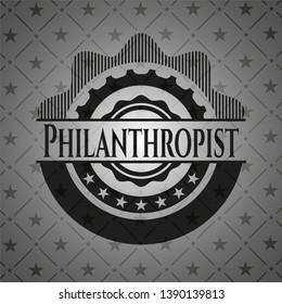 Philanthropist realistic dark emblem. Vector Illustration. Detailed.