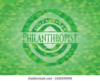 Philanthropist realistic green mosaic emblem. Vector Illustration. Detailed.