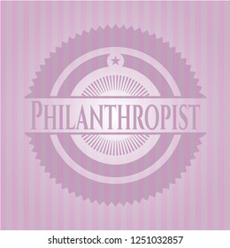 Philanthropist realistic pink emblem