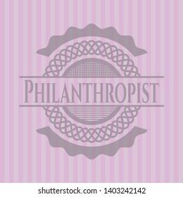 Philanthropist realistic pink emblem. Vector Illustration. Detailed.