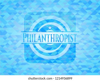 Philanthropist realistic sky blue emblem. Mosaic background