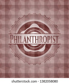 Philanthropist red seamless badge with geometric background.