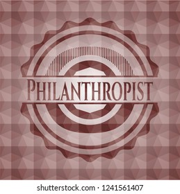 Philanthropist red seamless polygonal badge.