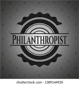 Philanthropist retro style black emblem. Vector Illustration. Detailed.