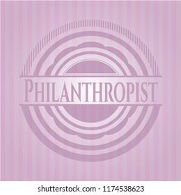 Philanthropist retro style pink emblem