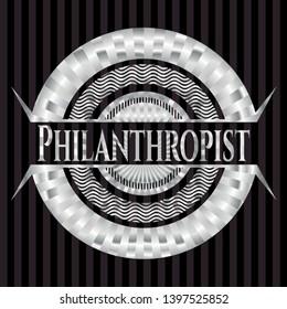 Philanthropist silver emblem or badge. Vector Illustration. Mosaic.