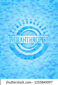 Philanthropist sky blue emblem. Mosaic background