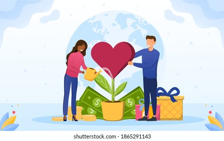 Philanthropy abstract concept. Voluntary charity persons. Symbolic love, humanity as nonprofit social teamwork. Support contribution, gifts and abstract public improvement. Vector illustration